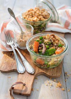 recette de crumble aux légumes et quinoa