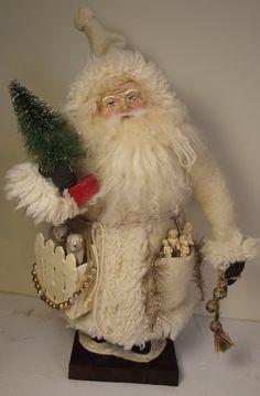 Handmade Santa Claus By Kim Sweet~Kim's Klaus~OoAk Art Doll~Vintage Antique White Christmas~