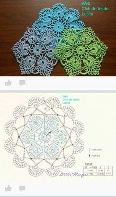 This Pin was discovered by Юли Crochet Snowflake Pattern, Crochet Snowflakes, Granny Square Crochet Pattern, Crochet Round, Crochet Squares, Crochet Home, Crochet Motif, Crochet Doilies, Crochet Flowers