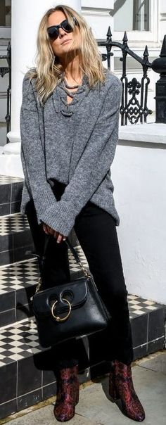 #fall #style #looks Grey + Black