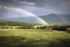 A beautiful dual rainbow over Cades Cove