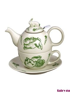 Tea for One Green Toile Bunnies Ribbed Teapot, Cup and Saucer