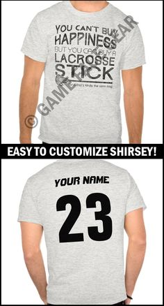 Is it a t-shirt, is it a sports jersey? No it's a #shirsey! Easily customize this t-shirt with your own choice of name and number. More original sports apparel & gifts @ http://www.zazzle.com/gamefacegear*/ #lacrosseshirsey #lacrosse #lacrossetshirts