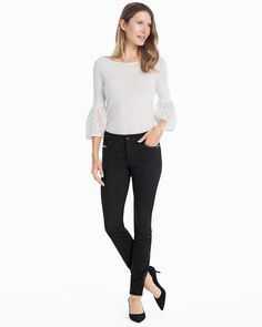 Ponte Houndstooth Faux Leather Trim Skinny Pants