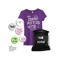 Kohai Gift Set (Ladies Fitted Style) T-Shirt Bag Pins Anime Manga... ($35) ❤ liked on Polyvore featuring tops, t-shirts, shirts, purple, women's clothing, screen print shirts, animal t shirts, t shirts, screen print t shirts and checked shirt