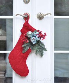 red sweater stocking for the front door