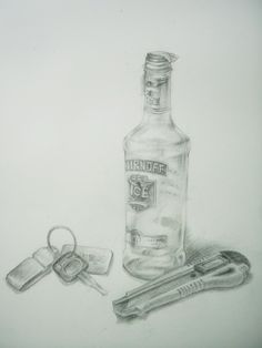 still life Drawing Pencil by Sittichai Pijitam (cycnas) Pencil Drawings, Art Drawings, Still Life Drawing, Vodka Bottle, Pencil Art, Art Paintings