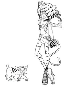 monster high pets coloring pages posts related to toralei stripe monster high and pet coloring