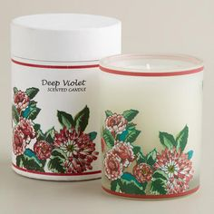 One of my favorite discoveries at WorldMarket.com: Boxed Violet and Vanilla Floral Tumbler Candle