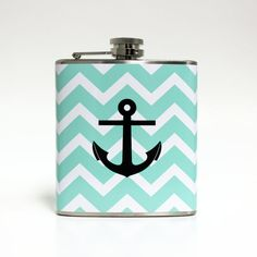 Nautical Anchor on Turquoise Chevron Stripe Zig Zag Flask Beach Destination Wedding Gift - Stainless Steel 6 oz Liquor Hip Flask LC-1248 on Etsy, $20.00