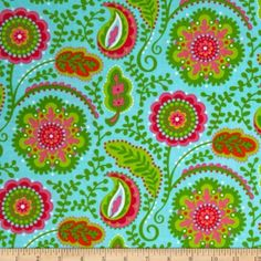 Amazon.com: Garden Party Wildflower Garden Aqua Fabric By The YD: Arts, Crafts & Sewing