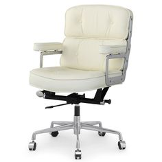 M340 Office Chair in Cream Italian Leather