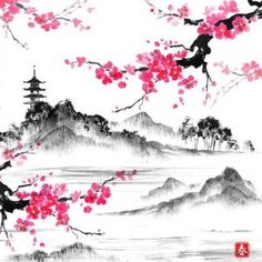 Landscape with sakura branches, lake and hills in traditional japanese sumi-e st. - Landscape with sakura branches, lake and hills in traditional japanese sumi-e style. Landscape Drawings, Cool Landscapes, Landscape Paintings, Japanese Landscape, Traditional Landscape, Traditional Japanese, Summer Landscape, Japanese Watercolor, Watercolor Paintings