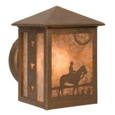 Steel Partners Cowboy Sunset 1 Light Outdoor Sconce Finish: Black, Shade Type: White Mica
