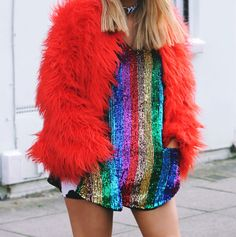 confetti crowd lurex tinsel rainbow dress arghhhh
