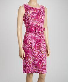 Voir Voir Fuchsia Ikat Belted Sleeveless Dress by Voir Voir #zulily #zulilyfinds