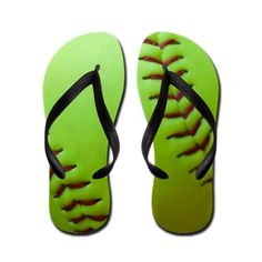 Optic Yellow Fastpitch Softball Flip Flops by JINJINJUNCTION