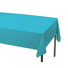 Save on our pretty Bermuda blue rectangle plastic table cover and brighten party tables.