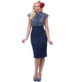 Unique Vintage Navy Blue Hour Glass High Waist Pencil Skirt #uniquevintage