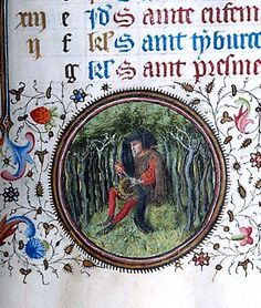 """Month, Occupation: April -- Man, seated on hillock surrounded by trees, tends to object in lap, possibly chaplet. Scene within decorated roundel in lower margin (bas-de-page). Morgan LibraryMS M.358 Book of hours (Ms. Pierpont Morgan Library. M.358) Title: Book of hours. Published/Created: Provence, France, ca. 1440-1450. Notes: Book of hours (""""unfinished hours""""), use of Rome; calendar in French, composite, mainly Paris; writte..."""