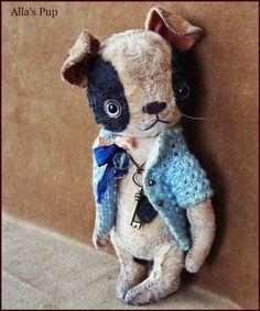 """Par Alla ours minuscule original 7,5 """"artiste OOAK Vintage vieux Prim chiot chien Jouet bébé poupée fantasque pour animaux de compagnie ami"""