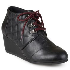Journee Collection Fold Womens Quilted Lace-up Wedge Ankle Boots, Size: 6.5, Black