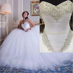 Charming Real Image 2016 Plus Size Wedding Dresses Vestidos De Noiva Crystal Beads Bridal Ball Gowns Tulle Sweetheart Vintage Chapel Train A Line Princess Wedding Dress A Line Sweetheart Wedding Dress From Hjklp88, $124.73| Dhgate.Com