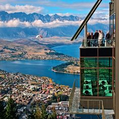 Stunning views of Queenstown from the gondola lookout/cafe, with a cheeky paraglider in the distance :)