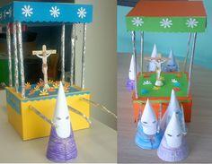 Pasos de Semana Santa realizados con cajas de cartón y papel. Ideal para hacer con niños