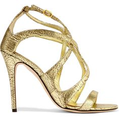 Alexander McQueen Metallic textured-leather sandals (6.419.585 VND) ❤ liked on Polyvore featuring shoes, sandals, gold, high heel shoes, almond toe shoes, alexander mcqueen, metallic shoes and alexander mcqueen shoes