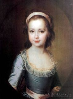 Portrait of Countess Anna Vorontsova as a Child. by artist Dmitry Levitzky. hand-painted museum quality oil painting reproduction on canvas. Miniature Portraits, 18th Century Fashion, Look Vintage, Russian Art, Russian Folk, Beautiful Paintings, Art History, Dame, Sculpture