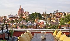View from the rooftop lounge and restaurant of Rosewood Hotel in San Miguel de Allende, Mexico.
