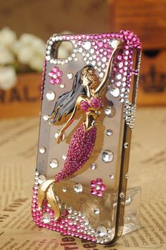 Pink Mermaid  Blingbling crystal cover cell phone by BlingWork,