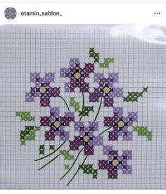 Mendil Cross Stitch Borders, Cross Stitch Flowers, Cross Stitch Charts, Cross Stitching, Cross Stitch Patterns, Beaded Banners, Graph Paper, Acl, Beaded Embroidery
