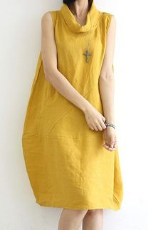 Yellow  Loose fitting Maxi dress  Linen dress  Cotton dress Lantern skirt Vest blouse -Spring, Autumn for Women C8 on Etsy, $51.58 AUD