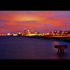 Long exposure of the #Cleveland skyline just before sunrise
