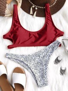 Cutout Leopard Bikini Set - Red S