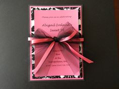 Pink and Black Sweet 16 Invitation by InvitesbySorella on Etsy
