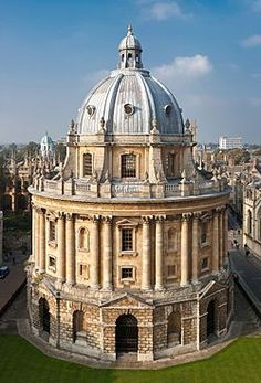 The Radcliffe Camera in Oxford, England as viewed from the tower of the Church of St Mary the Virgin.