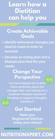Learn how a Registered Dietitian can help you achieve new goals and develop an eating plan that fits your needs. Visit nutritionxpert.com