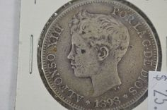 1898 Spain 5 Pesetas F Fine Spanish Silver Coin King Alfonso XIII