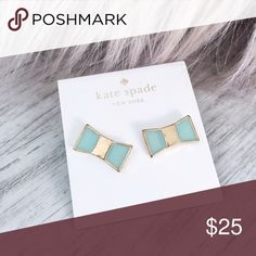 Kate Spade Mint Earrings Adorable little bow studs in mint color. Brand new kate spade Jewelry Earrings