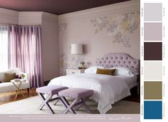 Benjamin Moore Paint: Walls and trim: AF-615 violetta  Ceiling AF-650 caponata  Wall Art: OC-22 calm, PT-250 fools gold, AF-600 amorous.