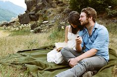 E. Franklin and C. Dauber by James Fitzgerald III, via Flickr. I like thd blanket and book by the lake idea.