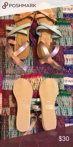 🎉SOLD OUT Rose Gold, Green Leather Sandals🎉 These adorable brand new and never been worn sandals are SOLD OUT and can only be found used on EBay!  So cute with shorts or skinnies!!  They have rose gold, green and brown straps and the rose gold straps around your ankle up on the bottom of your shin.  Super super cute! American Eagle Outfitters Shoes Sandals