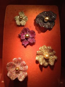 Five Wild Rose Brooches 1991  JAR Oriental pearls, rubies, sapphires, amethysts, garnets, citrines, diamonds, platinum, silver, gold. Private Collection