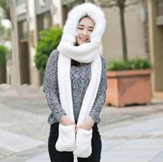 73 Best plush animal hat scarf and gloves all in one images  bfcb571781d6