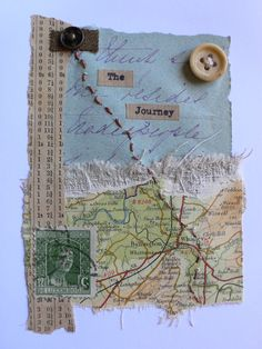 collage, mix media using objects from holidays, trapping in wax, sew into Art Journal Pages, Junk Journal, Altered Books, Altered Art, Map Crafts, Fabric Journals, Art Journals, Travel Scrapbook, Art Journal Inspiration