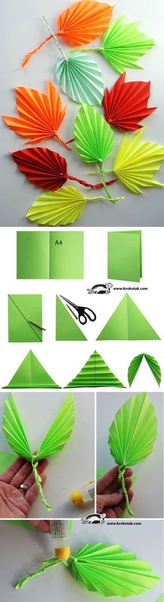 DIY paper leaves tutorial , paper flowers paper in half draw diagonal cut along diagonal.use 2 loose triangles to twist into vine open symmetrical triangle and fold leave if folded, twist paper vine or pipecleaner into middle open and tape Origami Paper, Paper Quilling, Diy Paper, Paper Crafting, Paper Art, Oragami, Diy Origami, Kids Crafts, Diy And Crafts