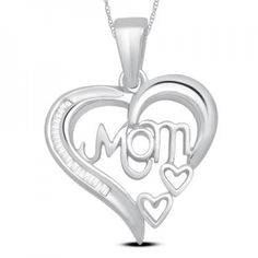 Spoil your mom with this Beautiful 14K White Gold Over Sterling Silver Diamonds Designer Necklace#MothersDay#NewMom#Mom#Jewelry